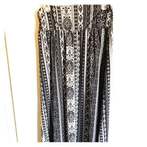 Black and white patterned full length skirt